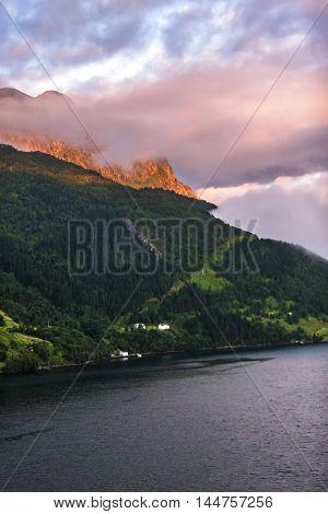 Scenery Of Natural Wonders Of Olden Fjord, Norway