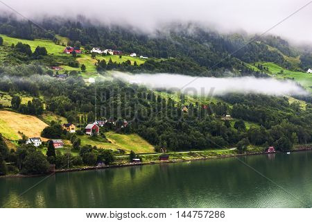Scenery Of Natural Wonders And A Village Of Olden Fjord, Norway