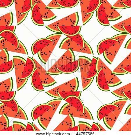 Seamless Pattern A Piece Of Watermelon Chaotic. Vector Illustration