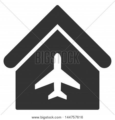 Aircraft Hangar icon. Vector style is flat iconic symbol, gray color, white background.