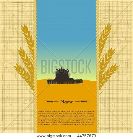 image tractor silhouette in a field of wheat