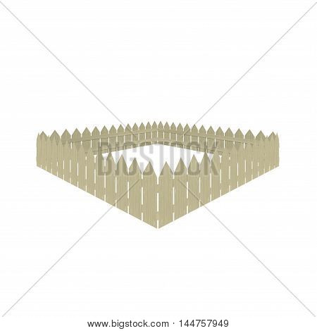 image wooden fence in perspective, vector illustration