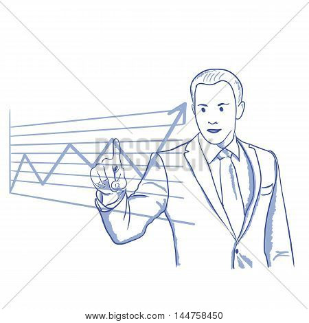businessman shows on a graph of investment growth of business career