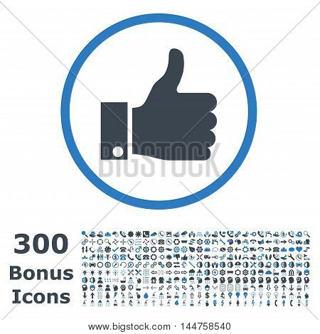 Thumb Up rounded icon with 300 bonus icons. Vector illustration style is flat iconic bicolor symbols, smooth blue colors, white background.