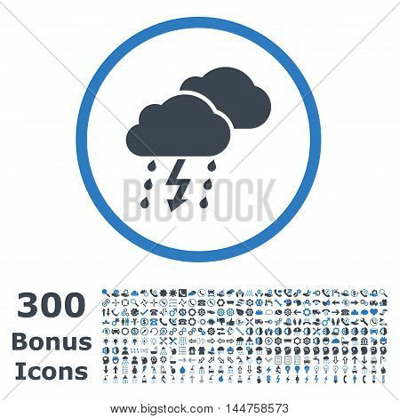 Thunderstorm rounded icon with 300 bonus icons. Vector illustration style is flat iconic bicolor symbols, smooth blue colors, white background.