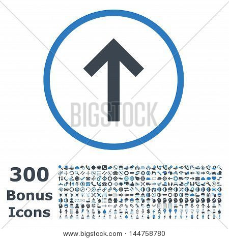Up Arrow rounded icon with 300 bonus icons. Vector illustration style is flat iconic bicolor symbols, smooth blue colors, white background.