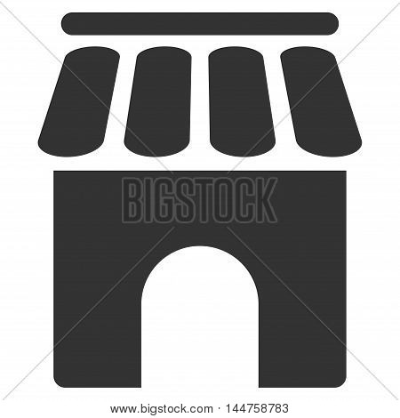 Shop Building icon. Vector style is flat iconic symbol, gray color, white background.