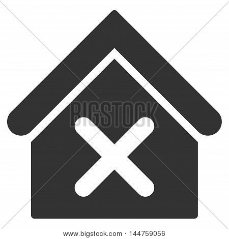 Wrong House icon. Vector style is flat iconic symbol, gray color, white background.