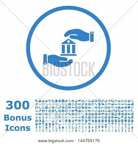 Bank Service rounded icon with 300 bonus icons. Vector illustration style is flat iconic symbols, cobalt color, white background.