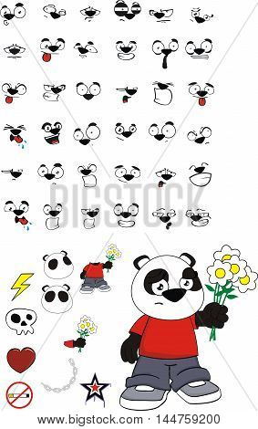 cute teddy panda bear kid cartoon expressions set in vector format