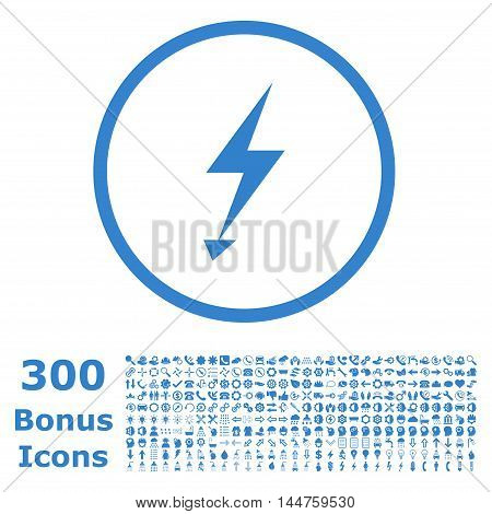 Electric Strike rounded icon with 300 bonus icons. Vector illustration style is flat iconic symbols, cobalt color, white background.