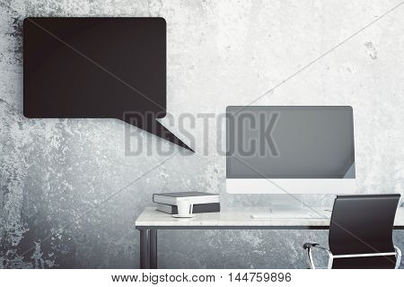 Creative workplace with empty computer monitor book coffee cup swivel-chair and abstract black speech bubble on concrete wall background. Mock up 3D Rendering