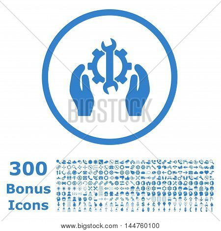 Repair Service rounded icon with 300 bonus icons. Vector illustration style is flat iconic symbols, cobalt color, white background.