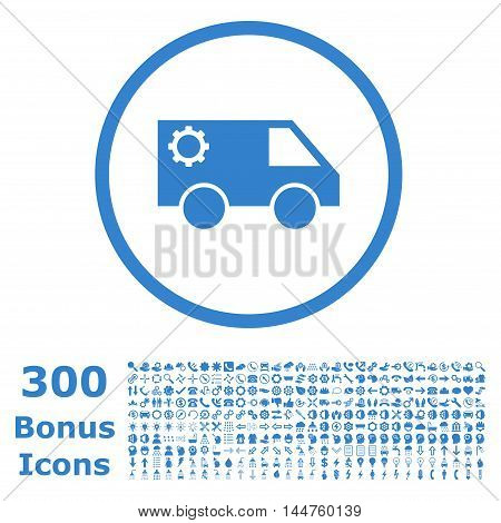 Service Car rounded icon with 300 bonus icons. Vector illustration style is flat iconic symbols, cobalt color, white background.