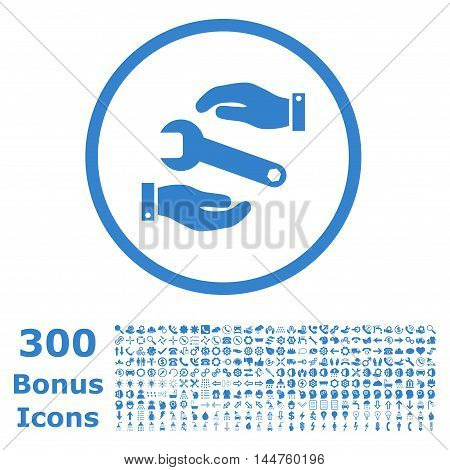 Service rounded icon with 300 bonus icons. Vector illustration style is flat iconic symbols, cobalt color, white background.