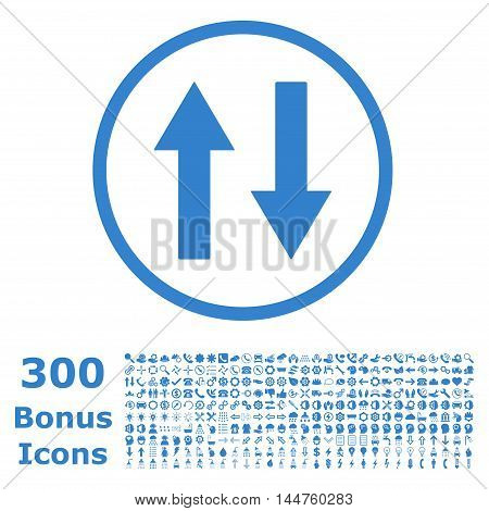 Vertical Flip Arrows rounded icon with 300 bonus icons. Vector illustration style is flat iconic symbols, cobalt color, white background.