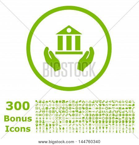 Bank Service rounded icon with 300 bonus icons. Vector illustration style is flat iconic symbols, eco green color, white background.
