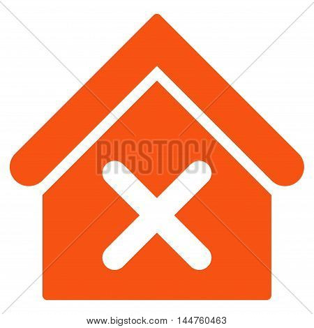 Wrong House icon. Vector style is flat iconic symbol, orange color, white background.