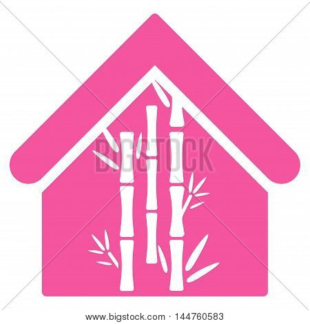 Bamboo House icon. Vector style is flat iconic symbol, pink color, white background.