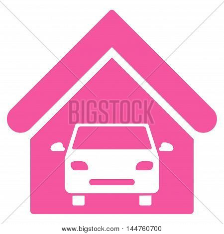 Car Garage icon. Vector style is flat iconic symbol, pink color, white background.