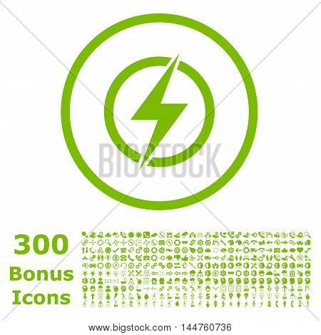 Electricity rounded icon with 300 bonus icons. Vector illustration style is flat iconic symbols, eco green color, white background.