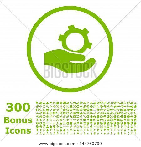 Engineering Service rounded icon with 300 bonus icons. Vector illustration style is flat iconic symbols, eco green color, white background.