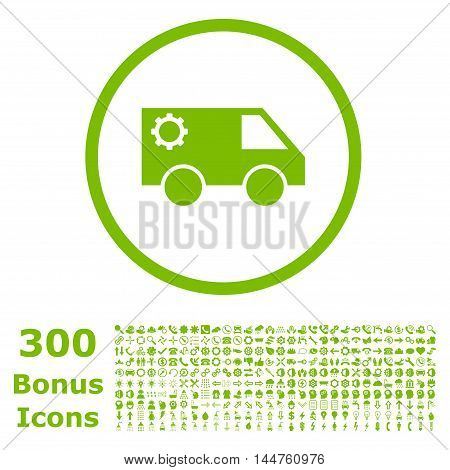 Service Car rounded icon with 300 bonus icons. Vector illustration style is flat iconic symbols, eco green color, white background.