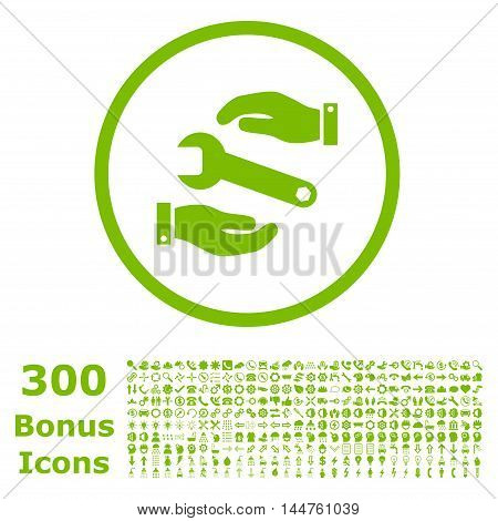 Service rounded icon with 300 bonus icons. Vector illustration style is flat iconic symbols, eco green color, white background.