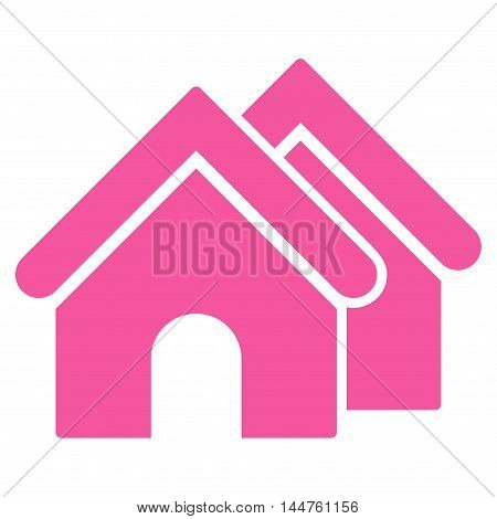 Real Estate icon. Vector style is flat iconic symbol, pink color, white background.