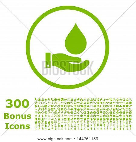Water Service rounded icon with 300 bonus icons. Vector illustration style is flat iconic symbols, eco green color, white background.