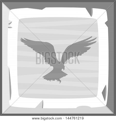 Hand Drown Old Silver Ingot Tile With Eagle Emblem. Vector Illustration