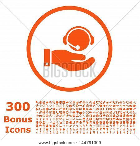 Call Center Service rounded icon with 300 bonus icons. Vector illustration style is flat iconic symbols, orange color, white background.