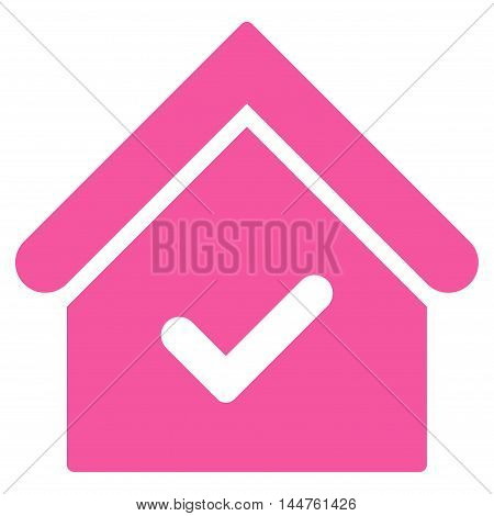 Valid House icon. Vector style is flat iconic symbol, pink color, white background.