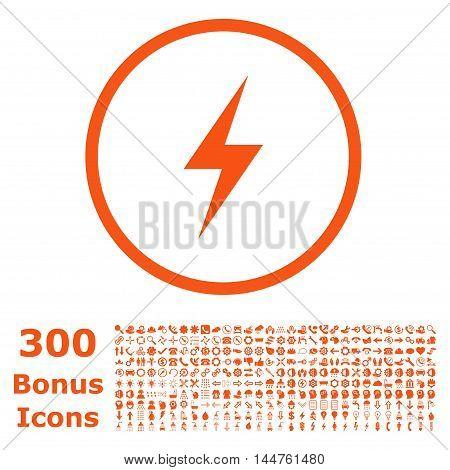 Electricity rounded icon with 300 bonus icons. Vector illustration style is flat iconic symbols, orange color, white background.