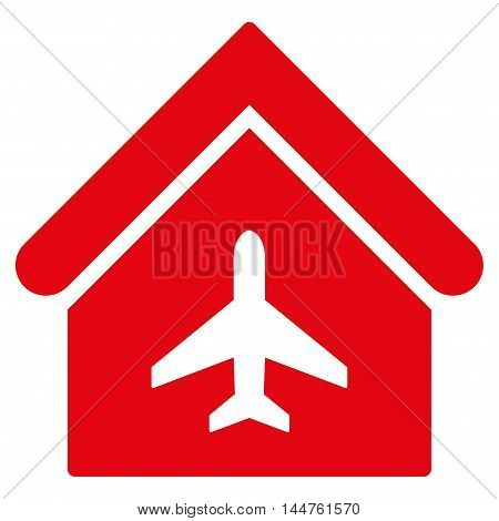 Aircraft Hangar icon. Vector style is flat iconic symbol, red color, white background.