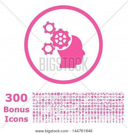 Brain Mechanics rounded icon with 300 bonus icons. Vector illustration style is flat iconic symbols, pink color, white background.