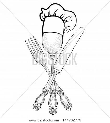 Cook hat over Spoon Fork Knife hand drawing sketch label. Cutlery icon collection. Catering outdoor events and restaurant service insignia. Restaurant symbol chef cook hat.
