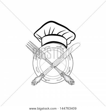 Chef cook hat with fork and knife hand drawing sketch label. Cutlery icon. Vector Catering and restaurant service insignia. Restaurant symbol chef cook hat.