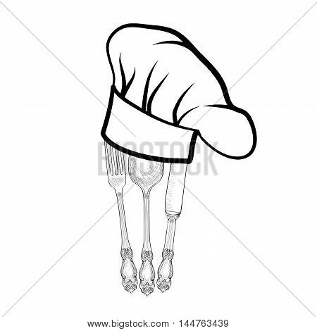 Chef cook hat with fork, spoon, knife hand drawing sketch label. Cutlery icon. Vector Catering and restaurant service insignia. Restaurant symbol chef cook hat.
