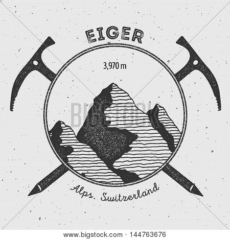 Eiger In Alps, Switzerland Outdoor Adventure Logo. Climbing Mountain Vector Insignia. Climbing, Trek