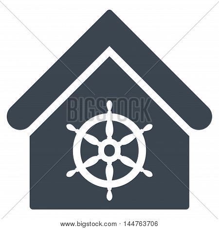 Steering Wheel House icon. Vector style is flat iconic symbol, smooth blue color, white background.