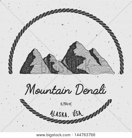 Denali In Alaska, Usa Outdoor Adventure Logo. Round Trekking Vector Insignia. Climbing, Trekking, Hi