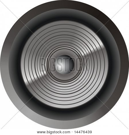 A Circular speaker isolated on white background.