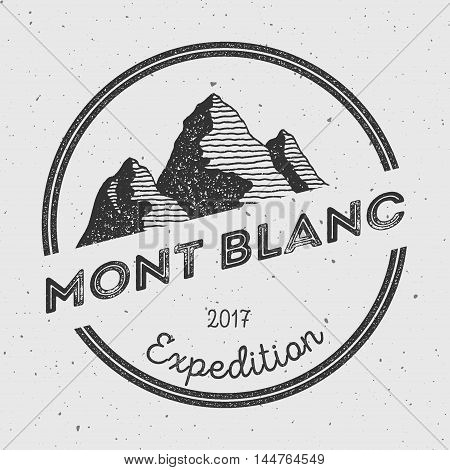 Mont Blanc In Alps, Italy Outdoor Adventure Logo. Round Expedition Vector Insignia. Climbing, Trekki