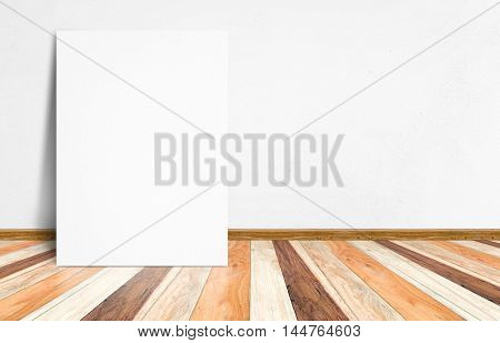 Blank White Paper Poster At Tropical Plank Wooden Floor And White Wall, Template Mock Up For Adding