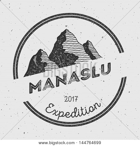 Manaslu In Himalayas, Nepal Outdoor Adventure Logo. Round Expedition Vector Insignia. Climbing, Trek