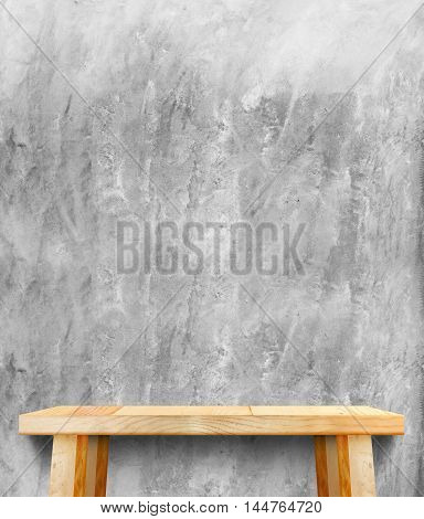 Wooden Tabletop At Crack Concrete Wall,template Mock Up For Display Of Product,business Presentation