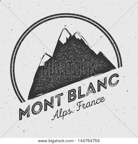 Mont Blanc In Alps, Italy Outdoor Adventure Logo. Round Mountain Vector Insignia. Climbing, Trekking