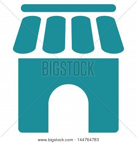 Shop Building icon. Vector style is flat iconic symbol, soft blue color, white background.