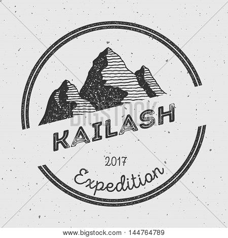 Kailash In Himalayas, Tibet Outdoor Adventure Logo. Round Expedition Vector Insignia. Climbing, Trek